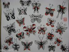 10pgs OLD SCHOOL 11x14 Butterfly Women Skull Parrish Tattoo Flash Red Black Art