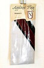 """New listing Evergreen Applique House Flag Letter N White/Black/Burgundy 30""""x 47"""" ~ New"""