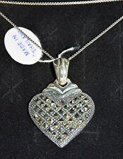 "MARCASITE HEART PENDANT & NECKLACE 24"" Sterling Silver 925 PAVE SQUARE CUT NIB"