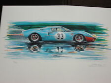 Ford Gt 40 1968 Ickx-Redmann 1000KM Spa Printing Numbered and Signed
