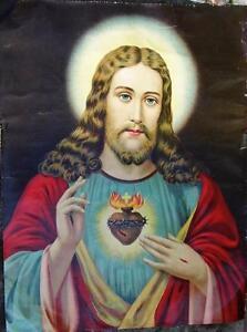 "Large Antique  Irish Catholic Convent Holy Picture Sacred Heart of Jesus 26 x20"""