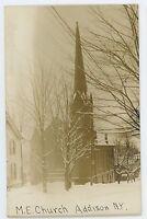 RPPC Methodist Church ADDISON NY Steuben County New York Real Photo Postcard