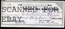 1895 Dunn & Backer Pure Bone Meal Manufacturers Troy Indiana ORIGINAL Bank Check