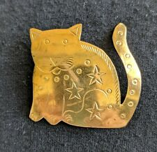 Cat Brooch Pin Artisan Hand Craft Cut Out Shape Kitty Brass Vintage  70s