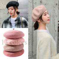 Sweet Women Solid Wool Beret French Artist Warm Beanie Hat Winter Ski Cap New