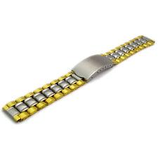 Folding Deployment Watch Bracelet Stainless Steel Mens 2-Tone 18mm BL04