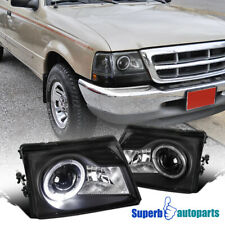 For 1998-2000 Ford Ranger Black Projector Headlights Head Lamps W/ Halo Ring