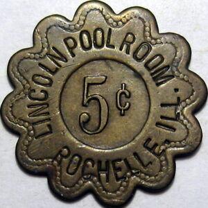 1930 Rochelle Illinois Good For Token Lincoln Pool Room Billiards