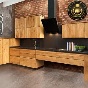 Moderne Landhausküche QUADRO elegante Küche L-Form Massivholz Eiche (Meterpreis)