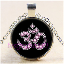 Pink OM Symbol Photo Cabochon Glass Tibet Silver Chain Pendant Necklace