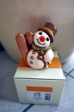 Weihnachtsfigur THUN Keramik Schneemann - mit Ski, selten