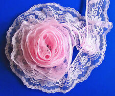 PINK~3 Inch Wide Ruffled Floral Lace Trim~By 5 Yards