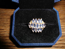 14kt Solid Gold Natural Marquise Tanzanite Cluster Ring  4.4 grams --- Not Scrap