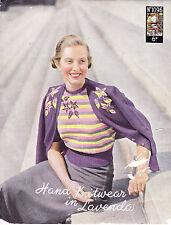 VINTAGE 1950'S KNITTING PATTERN PATTERNED TWIN SET