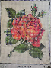 ROSE FLOWER CROSS STITCH PATTERN ON CANVAS  FOR  ANCHOR THREADS OR DMC THREAD