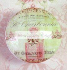 FRENCH PERFUME BOTTLE Crown word Ceramic Knob PARIS cabinet Drawer Pull script