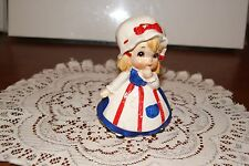 Vintage.Hand Painted.Lefton.Girl Dressed In Red, White, & Blue.Figurine