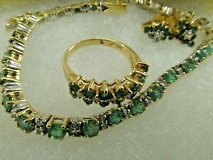 14K Solid Gold Emerald and Diamond Bracelet, Ring and Earring Set #1543