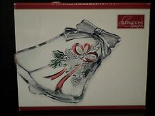 """Mikasa Celebrations Holiday Bells Collection Bell Holly Dish Glass 6.75""""  NIB"""