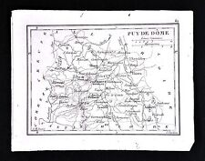 1833 Perrot Tardieu Map Puy de Dome - Clermont Issoire Thiers Riom Ambert France