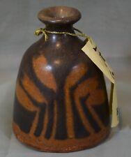 Vintage Raku Pottery vessel vase Stamped T Blackwater Pottery Charles Perry 1988