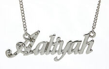18K White Gold Plated Necklace With Name AALIYAH - Wedding Name Plate Jewellery