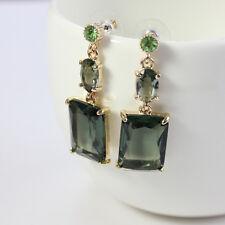 Boucle d`Oreille Clous Carree de Cristal Vert Super Simple Elegant Cadeau BB 7
