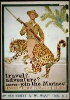 *US MARINE Color POSTER WW1 Copy of Original Man Cave Great Art  LQQK  Buy Now!
