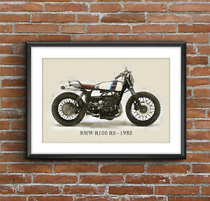 BMW R100 RS - 1982 DEUS, Art Sketch Poster [without frame]