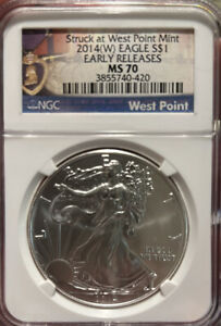 2014(W) Silver Eagle NGC MS 70 West Point Mint ,Early Release,Purple Heart Label