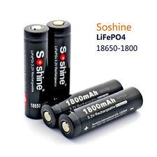 Rechargeable 2 PCS Soshine 3.2V 1800mAh LiFePO4 18650 Battery with Protection