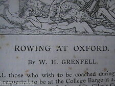 Rowing Oxford Varsity Boat Race Sculls Rare Antique Article 1889 Chitty Grenfell