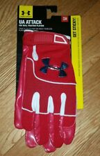 Under Armour Attack Receiver Football Gloves 1234139-600 Adult Small Red New $45