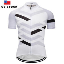 Men's Bike Cycle Jerseys Short Sleeve Cycling Shirt White Biking Jersey US Ship