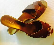 JIMMY CHOO Prima Wedges.  Slides Sandals Canyon Leather Brown Size 12, EU 42.