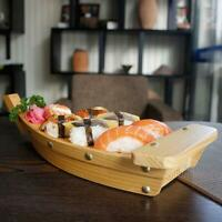 Wooden Japanese Sushi Boat Shape Serving Plate Tray Sashimi Seafood Platter