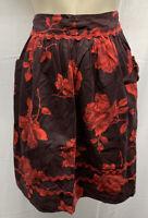 MCM 40s - 60s Vintage Floral Apron Rick Rack Half Burgundy Red Rose Roses Pocket