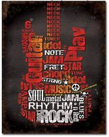 Guitar Metal Tin Sign Music Rock Garage Bar Man Cave Home Wall Decor New