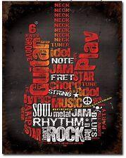 Guitar Metal Tin Sign Music Rock Garage Bar Man Cave Home Wall Decor New