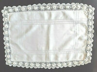 Vintage rectangular white linen tray cloth with raised flowers crocheted edges.