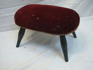 Primitive Wooden Upholstered Top Foot Step Stool Wood Bench Country Farm Decor