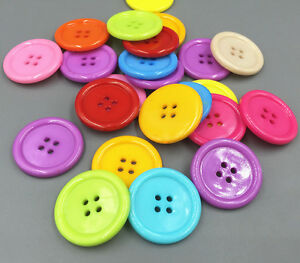 50pcs Mixed color Resin Buttons 4 Holes Sewing Scrapbooking Craft 30mm/1.18 in
