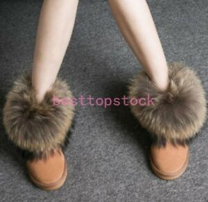 Women's Anti-SKID Winter Ankle Snow Boots Real Fox Fur RACCOON FUR Lined Shoes
