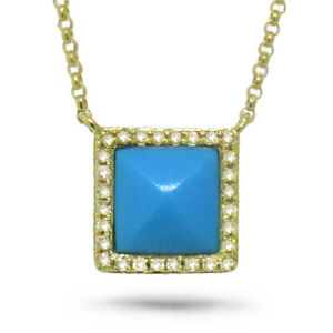 0.82CT 14K Yellow Gold Natural Diamond Turquoise Pyramid Square Pendant Necklace