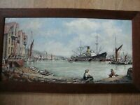 Original Signed & dated painting (Oil) Drakes Wharf Strood/Rochester Kent Ships
