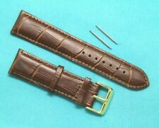 22mm Brown Crocodile Grain Leather Replacement Watch Band - Guess 22 Gold Tone