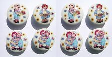 8 RAGGEDY ANN AND ANDY KIDS  DRESSER DRAWER KNOBS UNISEX MADE AS ORDERED