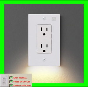 Outlet Wall Plate With LED Night Light(Square)(No Batteries/Wires) Free Shipping
