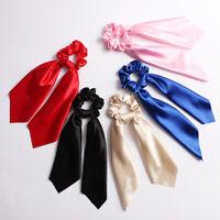 Bohemian Solid Streamers Elastic Scrunchies Hair Scarf Bow Hair Rubber Rope Ties
