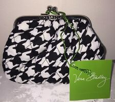 VERA BRADLEY Kiss Kiss Coin Purse MIDNIGHT HOUNDSTOOTH *RETIRED* NWT Double Kiss